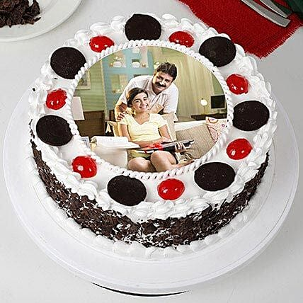 Tasty Black Forest Photo Cream Cake for Fathers Day: Photo Cakes