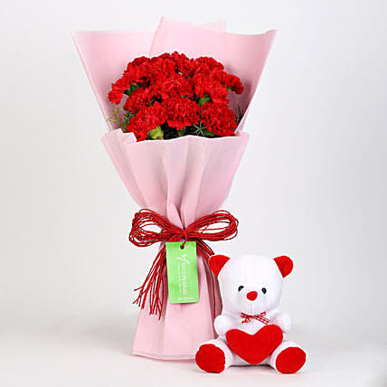 Teddy Bear & 12 Red Carnations Bouquet Combo: Carnations