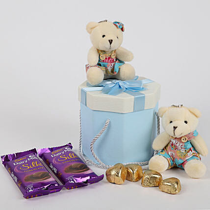 Teddy Bear & Chocolates Blue Box: Chocolate Combo For Valentine's Day