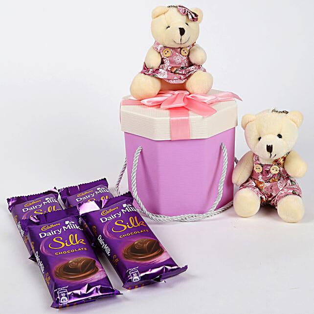 Teddy Bear & Chocolates Purple Box: