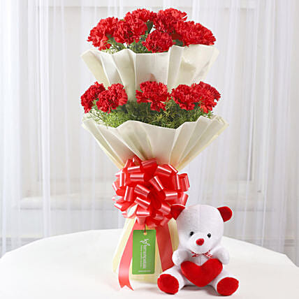 Teddy Bear & Two Layer Red Carnations Bouquet: Send Carnations