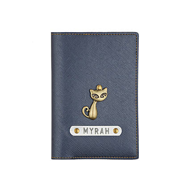 Textured Passport Cover Metallic Blue: Personalised Accessories