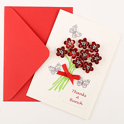 Thank You Red Bouquet Greeting Card: Greeting Cards