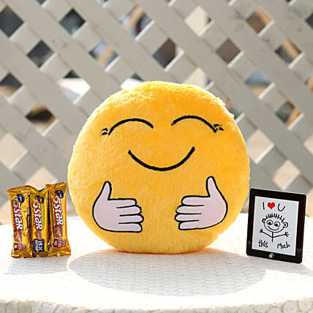 The Hugging Smiley Cushion & Five Star Combo: Cadbury Chocolates