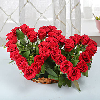 Two Red Hearts As One Basket Arrangement: Heart Shaped Flowers