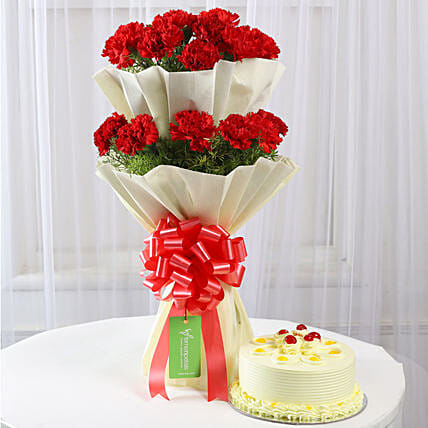 Two Layer Red Carnations With Butterscotch Cake: Flowers & Cake Combos