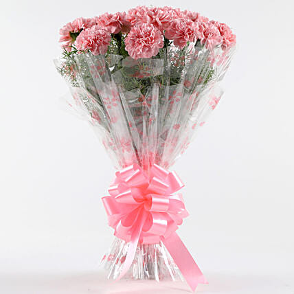Unending Love-12 Light Pink Carnations Bouquet: Diwali Flowers