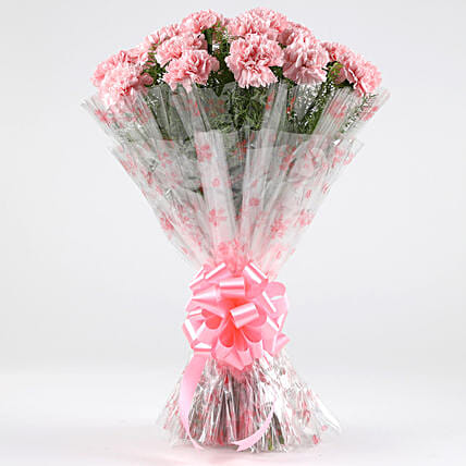 Unending Love-24 Light Pink Carnations Bouquet: Send Carnations