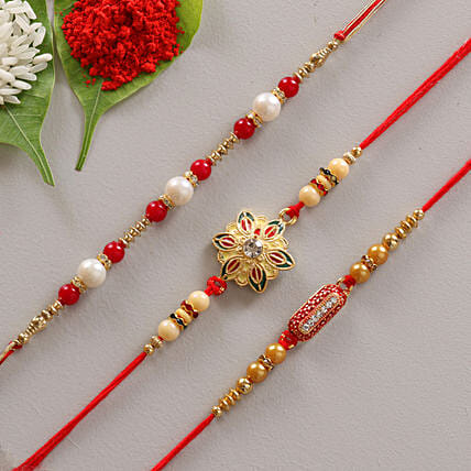 Unique Designer Set of 3 Rakhis: Set of 3 Rakhi
