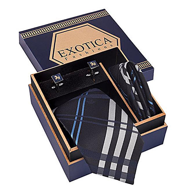 Blue N Grey Tie Set: Send Ties and Cufflinks