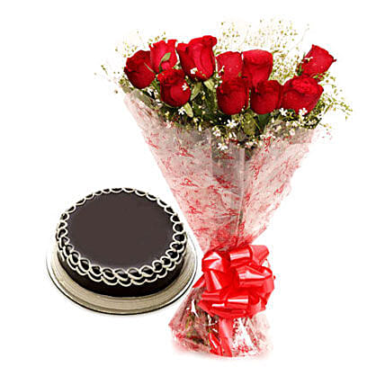 Capturing Heart- Red Roses & Chocolate Cake: Send Gifts to Mirganj