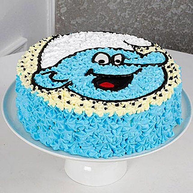 Cute Smurf Cream Cake: Send Designer Cakes
