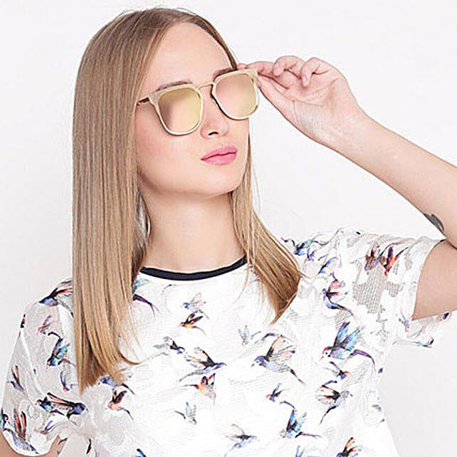 Golden Wayfarer Mirrored Unisex Sunglasses: Sunglasses Gifts