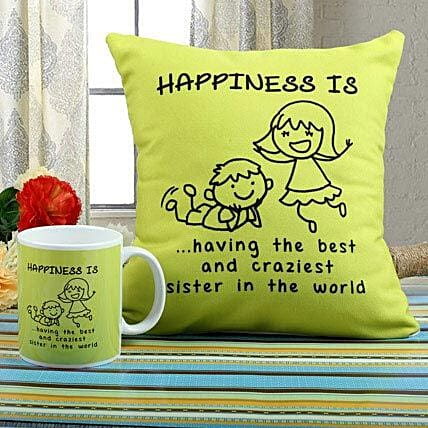 Happiness Mug N Cushion Combo: Send Rakhi to Raipur
