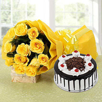 Yellow Roses Bouquet & Black Forest Cake: Send Gifts to Machilipatnam