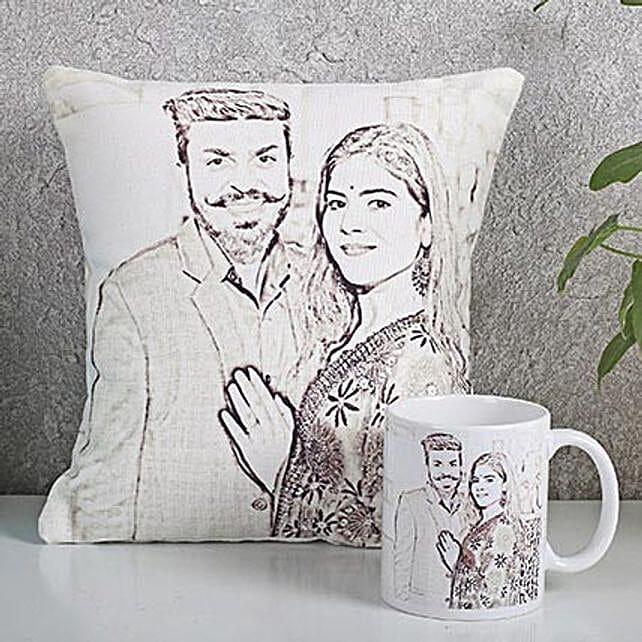 Personalized Couple Cushion N Mug Combo: Personalised Caricatures