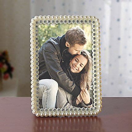 Personalized White Pearls Photo Frame: Personalised Photo Frames