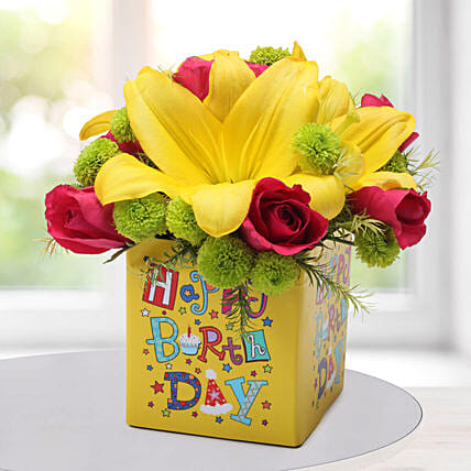 Asiatic Lilies Arrangement: Best Selling Gifts for Birthday