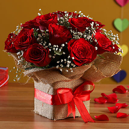 Exotic Red Roses Arrangement: Send Flowers for Parents Day