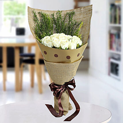 Fresh White Roses Bunch: