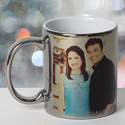 Personalized Ceramic Silver Mug: Personalised Gifts Amravati