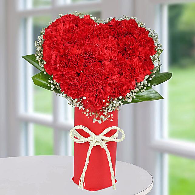 Red Carnation Heart Arrangement: