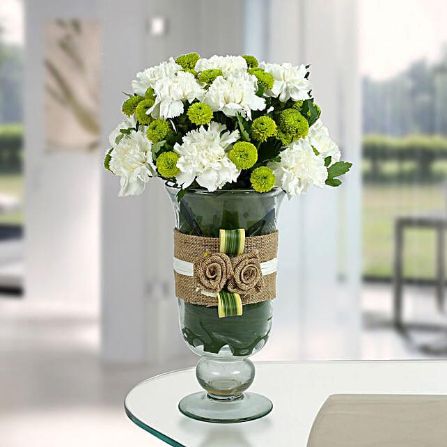 White Carnations Arrangement: Send Chrysanthemums