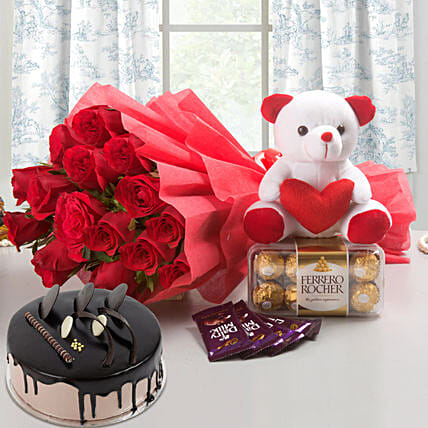 Win Her Heart Love Combo With Chocolate Cake: Cakes N Teddy Bears