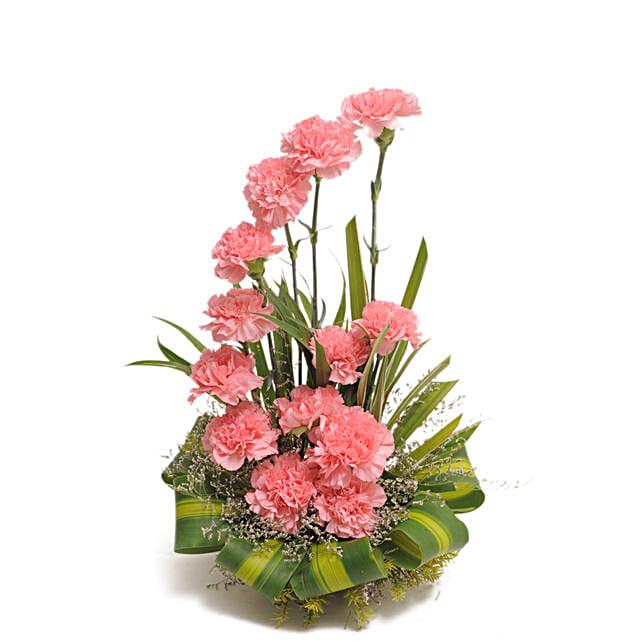 Pink Carnations Basket Arrangement: Birthday Gifts for Friend