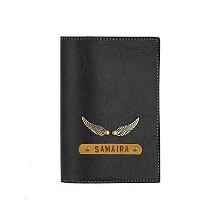 Leather Finish Passport Cover Black: Personalised Gifts for Friend
