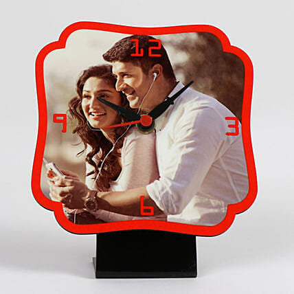 Personalized Red Table Clock: Valentine Personalised Gifts