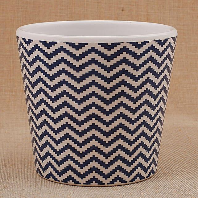 Melamine White And Blue Printed Vase: Pots for Plants