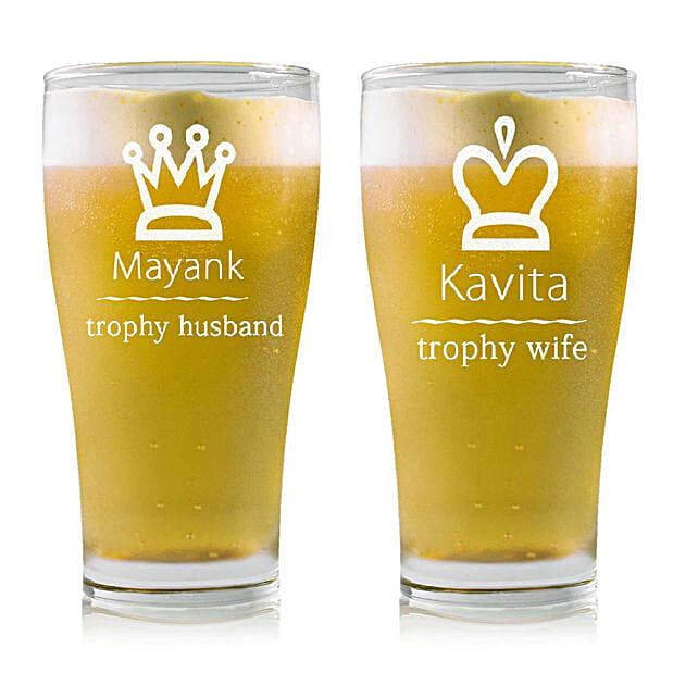 Personalised Set Of 2 Beer Glasses 2215: Bar Accessories