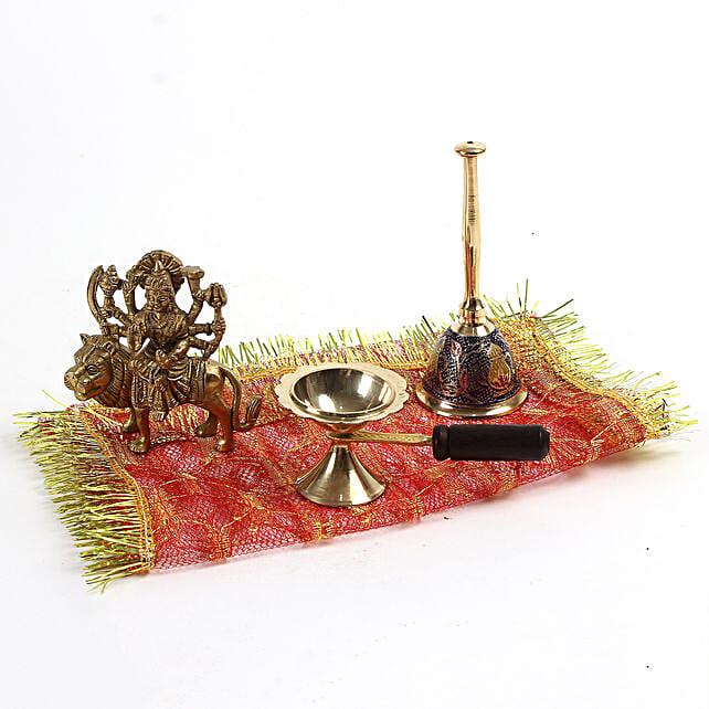 Premium Maa Durga Brass Idol Combo: Navratri Gifts