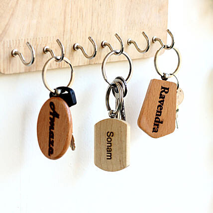 Engraved Wooden Key Chains Personalised Set of 3: Personalised Engraved