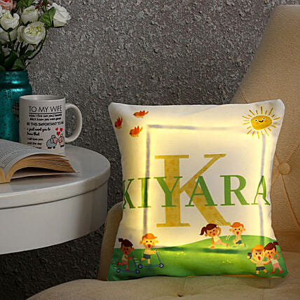 Personalised Name LED Cushion: Send Personalised Gifts to Lucknow