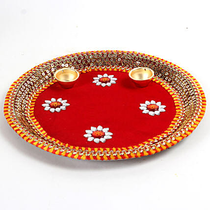 Decorated Red Floral Steel Thali: Send Pooja Thali