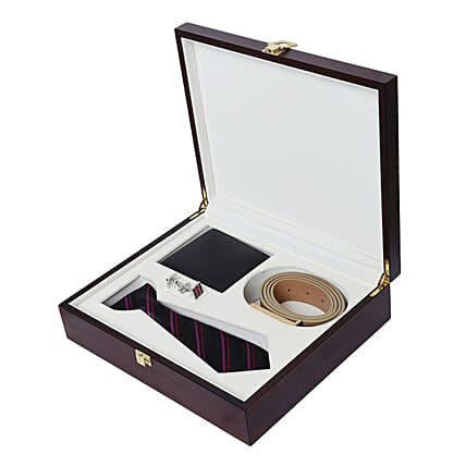 Alvaro Castagnino Black Purple Accessory Gift Set for Men: Belts for Men