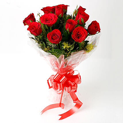 Impressive Charm- Bouquet of 10 Red Roses: Send Flowers to Rae Bareli