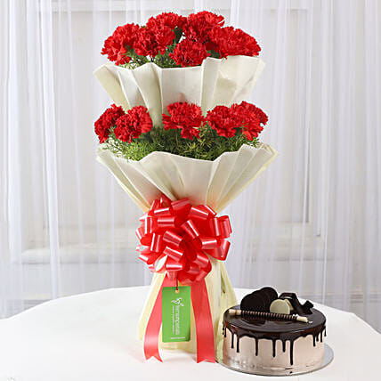 Two Layer Red Carnations Bouquet & Chocolate Cake Combo: Anniversary Gifts for Couples