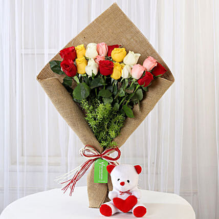 Mix Roses Bouquet & Teddy Bear Combo: Flowers & Teddy Bears