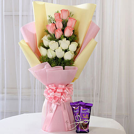 Pink & White Roses with Dairy Milk Silk: Gift Combos