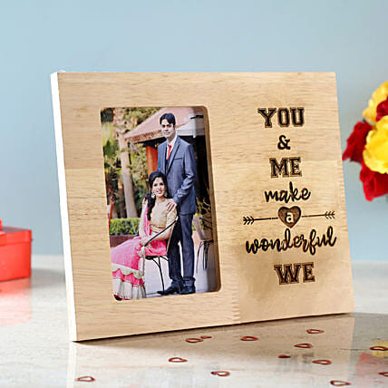 You & Me Engraved Wooden Photo Frame: Send Personalised Gifts for Wife