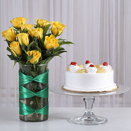 Yellow Roses Vase & Pineapple Cake Combo: Flowers N Cakes For Anniversary