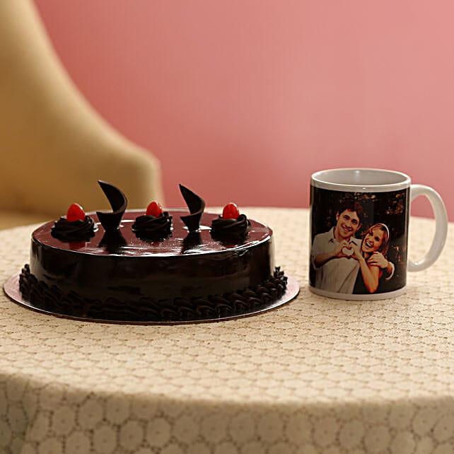 Delish Truffle Cake With Picture Mug: Birthday Combos