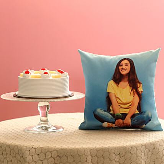 Fresh Pineapple Cake & Personalised Cushion Combo: