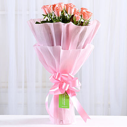 Endearing Pink Roses Bouquet: Send Flowers to Gandhidham