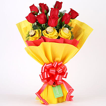 Roses N Chocolates Delight: Flower & Chocolates for Fathers Day