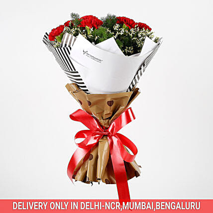 Red Carnations White Limonium Bouquet: Premium Gifts for Anniversary