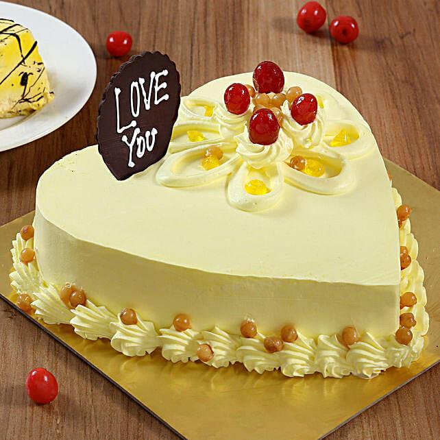 Heart Shaped Butterscotch Cake: Send Heart Shaped Cakes to Chennai